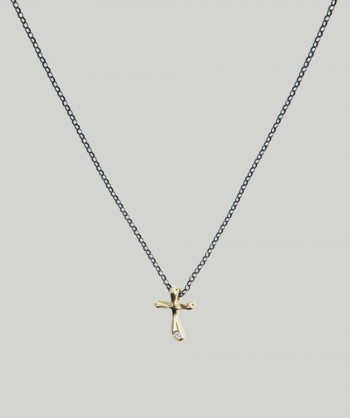 HUFFY JEWELS Yellow gold cross necklace w. brilliant