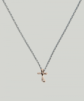 HUFFY JEWELS Rose gold cross necklace w. brilliant
